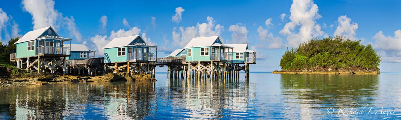 9 Beaches, Bermuda, Stilt Houses, Cottages, Caribbean, Reflections, Photograph, Panorama