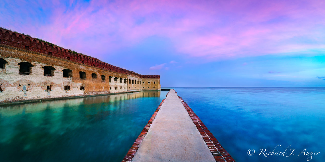 Dry Tortugas National Park, Fort Jefferson, Florida, Panorama, Fort, Key West, Sunset, Ocean, Walkway, Moat, Photograph, Landscape, Photo, Photographer