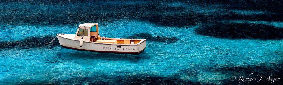 Florida Dream, Fishing Boat, Blue Water, Coastal, Panorama, Abstract, Ocean