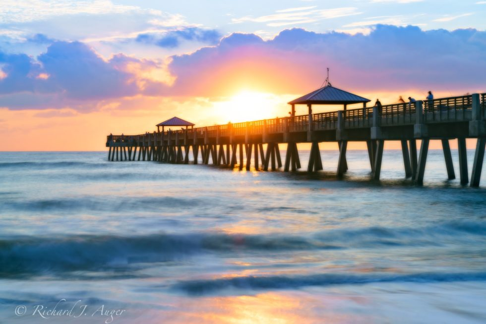 Juno Beach Pier, Palm Beach County, Sunrise, Blue, Orange, Ocean, Fishing, Richard Auger