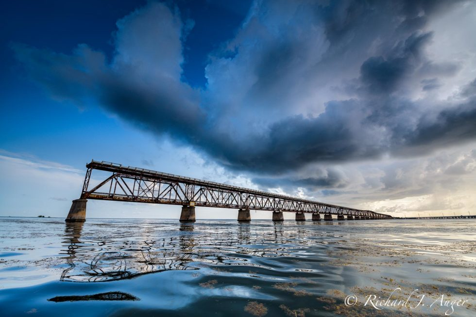 Bahia Honda Bridge, Florida Keys, Stormy, Railway, Waves Seascape, Photograph, Landscape