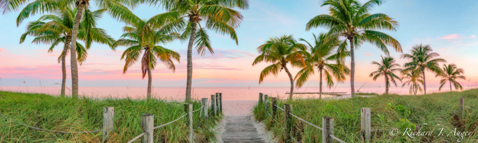 Smather's Beach, Key West, Florida, Ocean, Nautical, Palm Trees, Photograph, Panorama, Photography, Richard Auger, Landscape