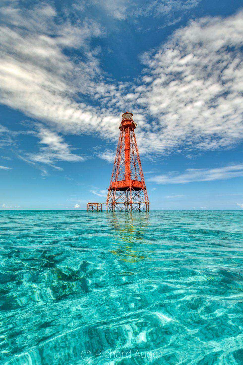 Sombrero Key Lighthouse, Marathon, Florida Keys, Ocean, Photograph, Canvas, Metal