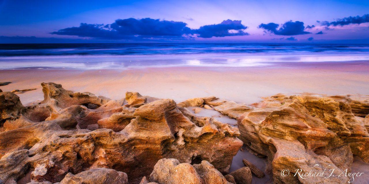 Washington Oaks State Park, Florida, coquina rocks, beach, purple, orange, sand, landscape, photograph, panorma, color
