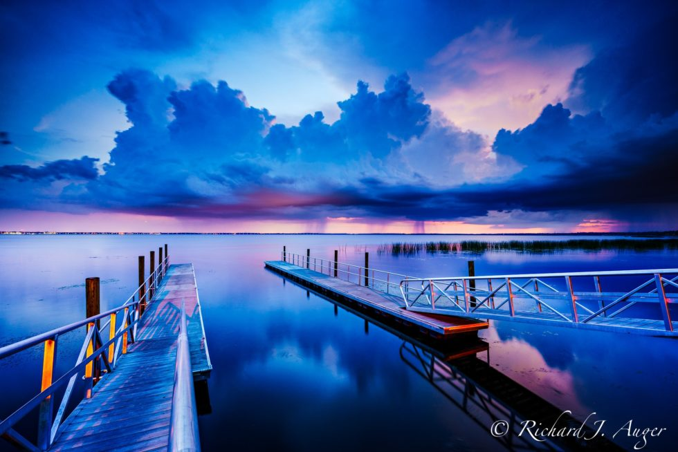 Lake Monroe, St Johns River, Deltona, Sanford, Florida, boat ramp, storm, sunset